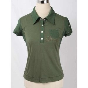 Christian Dior Boutique Green Jeweled Polo Shirt